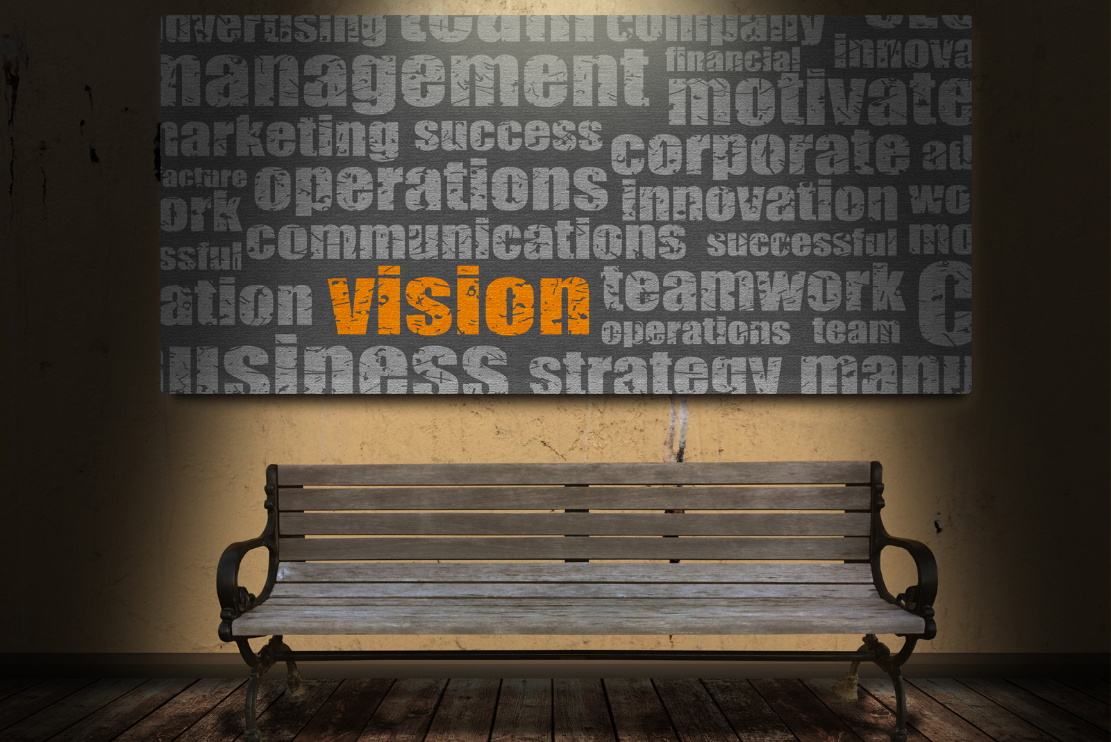 vision wording in orange on white chalkboard