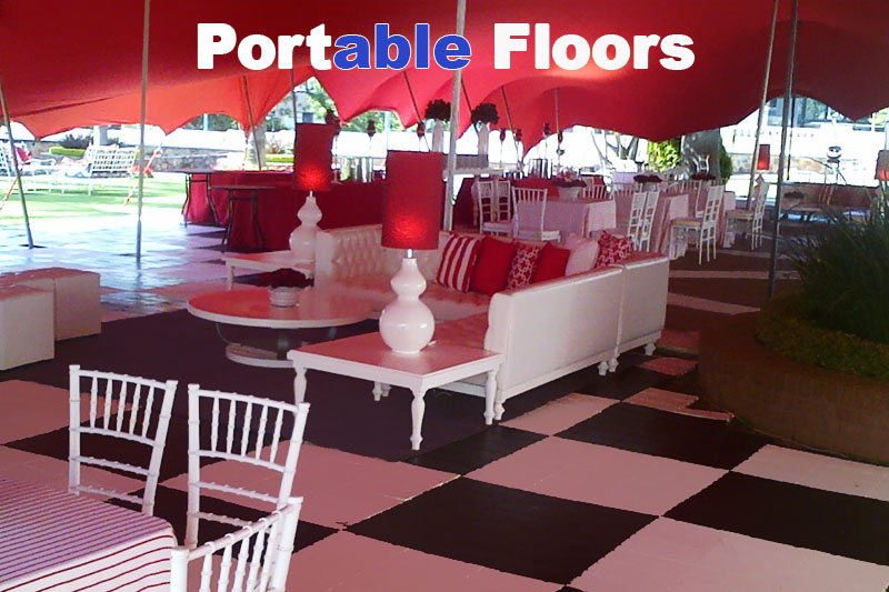 Black and White flooring under red tent